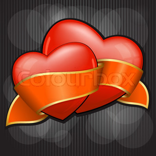 Valentine`s Day two heart with orange ribbon. EPS 10