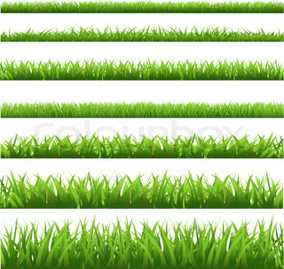 Green Grass Set, isoleret på hvid baggrund , Vector Illustration