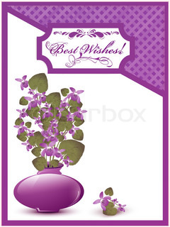 Best Wishes postcard with bunch of wild violet over white background