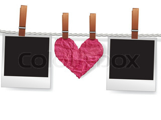 Love message by photo snapshot frames and heart on rope for scrap Polaroid blank for picture of family album