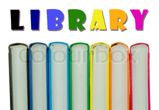 Row of colorful books' spines over the white background