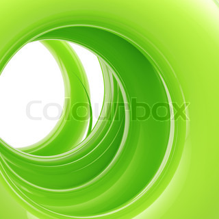 Abstract swirl background: green tonnel made of glossy twirl