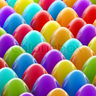 Easter day background made of colorful glossy eggs