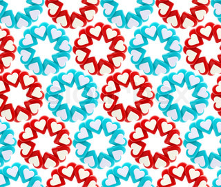 Seamless abstract background made of blue, red, white heart shapes