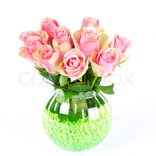 beautiful pink roses bouquet over white