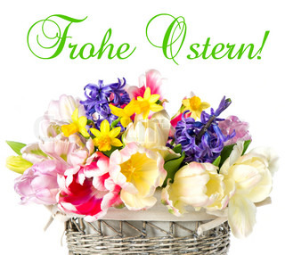 Happy Easter! tulips, narcissus and hyacinth colorful spring flowers over white background