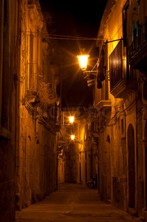 Syracuse, Sicily night street view in old town