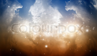 Wide mystical background - two suns in sky, orange and blue clouds