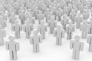 3D crowd of people. Computer generated image.