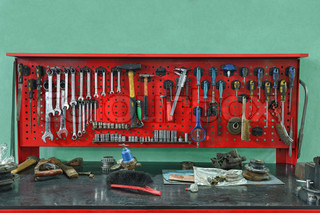 Set of the working tool at the stand A workplace of the mechanic