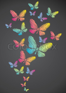 Butterflies drawn in chalk on a blackboard