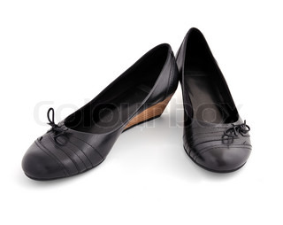 black ladies shoes on a white background