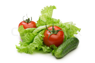 Tomato, cucumber and lettuce salad isolated on the white background