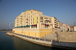 Waterside building of Qanat Quartier at The Pearl in Doha, Qatar