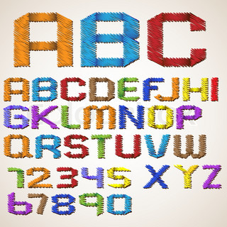 Alphabet letters and numbers folded scribble tape