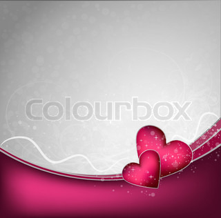 Valentines vector background with floral ornate and hearts