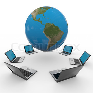 Global computer network. Internet concept. Computer generated image.