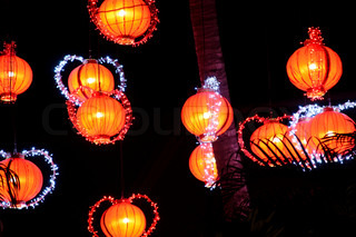 Chinese paper lamps at night