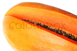 Close-up of bisected orange papaya