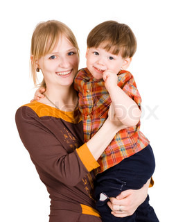 Young mother holding her son and both smiling