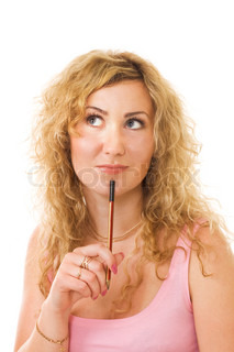 blond woman with pen thinking with lovely look