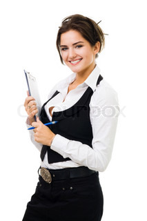 Happy business woman with tablet and pen smiling, standing isolated on white