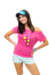 Woman in pink t-shirt and blue peaked cap smiling have fun staning in front view isolated on white