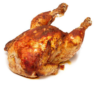 Roasted chicken isolated on white | Stock Photo | Colourbox