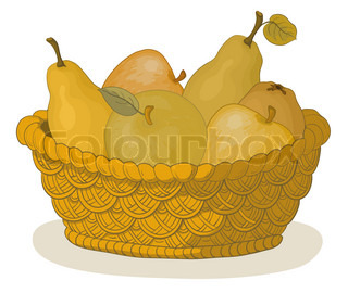 Still life, wattled basket with sweet fruits: apples and pears