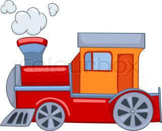 Cartoon Illustration Train Isolated on White Background