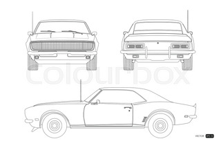 Outline Drawing Of Retro Car Vintage Cabriolet Front Side And
