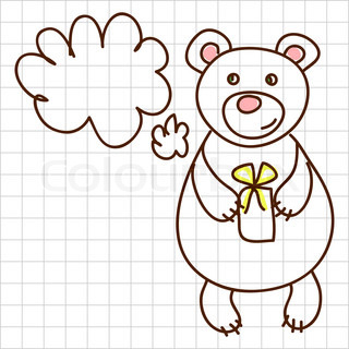Childe drawing greeting card with cute bear
