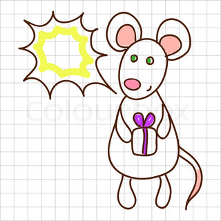 Childe drawing greeting card with cute mouse