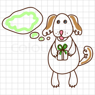 Childe drawing greeting card with cute dog