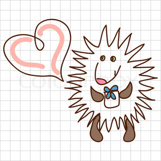 Childe drawing greeting card with cute hedgehog
