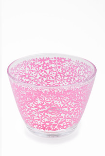Empty pink glass bowl isolated white background
