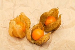 frische bio physalis frucht auf packpapier stock foto. Black Bedroom Furniture Sets. Home Design Ideas