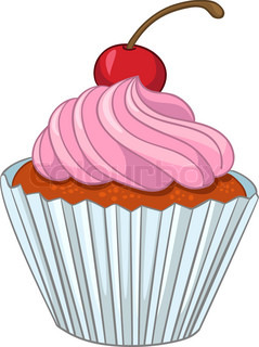 Cartoon Food Sweet Cupcake Isolated on White Background