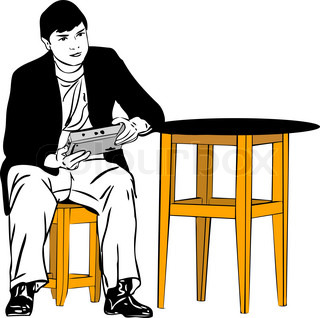 sketch of a guy sitting on a stool at the table