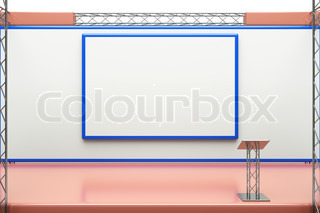 a center stage with metal frame, put your object in promotion screens
