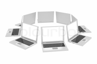 Laptops in circle isolated on white. Computer generated image