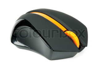 black computer mouse with an orange to scroll isolated on white background