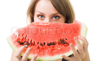 Woman's face with watermelon with blue eyes,isolaed on white