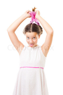Naughty girl in pink tease and stick her tongue,isolated on white