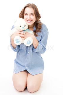 Young happy woman with teddy bear smile,isolated on white