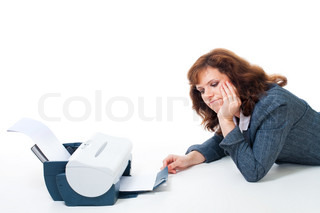 Woman tired to wait until printer print document, isolated on white