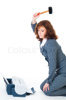 Business woman hate priter hitting it with hammer, isolated on white