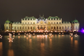 palace belvedere in vienna - night