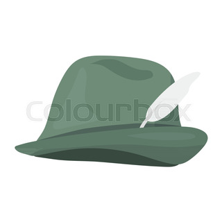 ab84bf6438c Tyrolean icon in cartoon style isolated on white background. Hunting symbol  stock vector illustration.