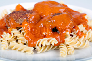 Meatballs with fresh tomato sauce and fusilli | Stock ...